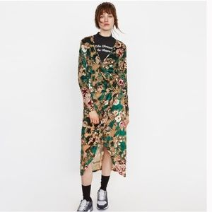 Zara Velvet Floral Burn Maxi Wrap Dress